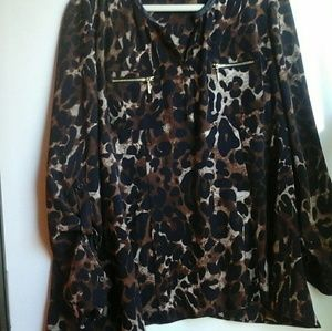 RAFAELLA ANIMAL PRINT LONG SLEEVES V-NECK BLOUSE